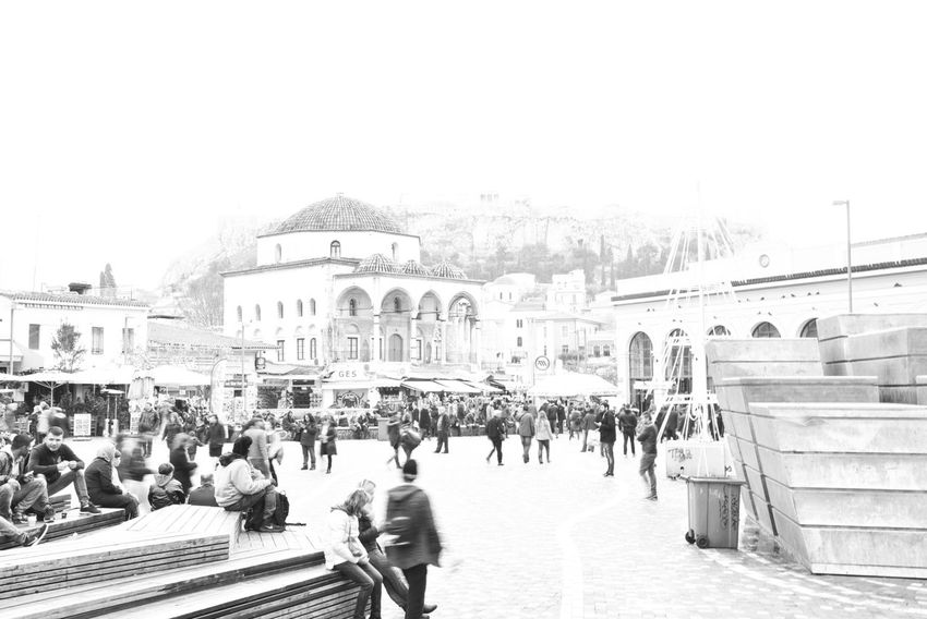 """""""Lust for the Past"""" Foggy Misty Foggy Morning Misty Morning People Photography Blackandwhite Streetphotography Sky Monastiraki Acropolis Athens, Greece Eye4photography  EyeEm Gallery The Week on EyeEm Malephotographerofthemonth Getting Inspired Daily Life City Life Greece Large Group Of People Built Structure Architecture Building Exterior Travel Destinations People Day Outdoors City"""