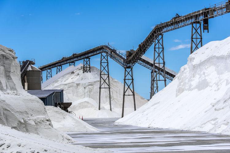 Built Structure On Snow Covered Landscape Against Blue Sky