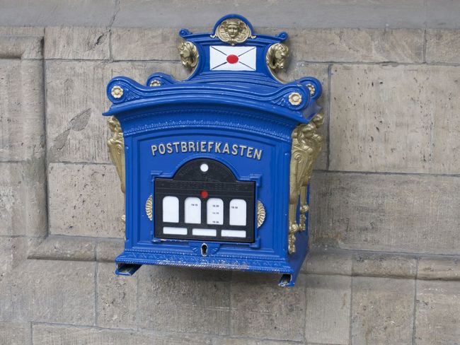 Blue Blue Box Close-up Communication Day Historical Letter Box Mail Mail Box No People Outdoors Snail Mail Text