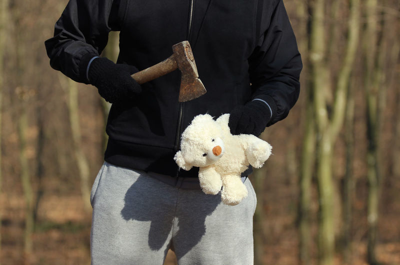 Maniac with an axe Aggression  Angry Children Crime Kidnapping Murder Victim Abuse Axe Brutal Child Childhood Danger Dangerous Human Hand Kill Killer Mad Maniac Nature Outdoors Psychopath Serial Killer Teddy Bear Violence