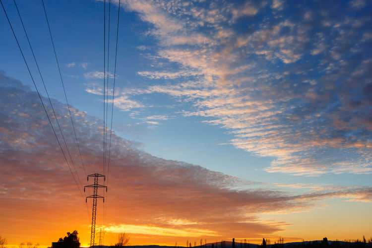 Cloud - Sky Sky Beauty In Nature No People Nature Outdoors Sunset Orange Color Electricity  Power Line  Electricity Pylon Cable Power Supply Technology Fuel And Power Generation Connection Architecture Built Structure Low Angle View Silhouette Telephone Line Complexity Romantic Sky