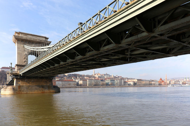 Low angle view of szechenyi chain bridge over river against sky