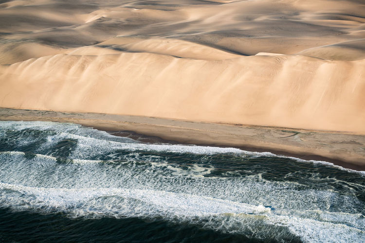 Flying over the skeleton coast in namibia.