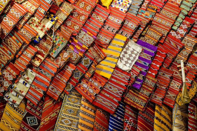 Full Frame Shot Of Multi Colored Fabrics For Sale In Market