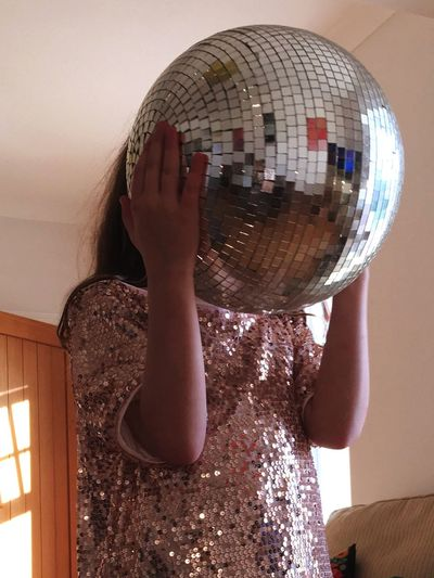 Disco head Glitter One Person Real People Lifestyles Leisure Activity Home Interior Indoors  Childhood Child Disco Ball Fun Girls Arms Raised Playing Casual Clothing This Is My Skin Love Is Love