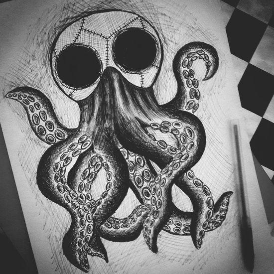 ArtWork Art I Love Art Artlovers Artlover Drawing Pendrawing Octopus Scary Monster