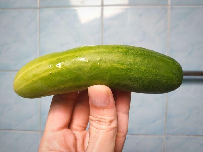 cucumber Fruit Cucumber Green Cucumber Clean Hands Fingers Blue Blackground Long Fruit Green Fruit Water