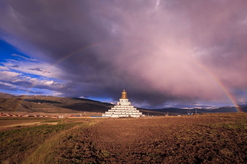 China Sichuan Buddha Buddhism Buddha Tower Buddhist Temple Rainbow Architecture Cityscape Landscape_photography Historic Landscapes Mountain Blue Sky Clouds And Sky Cloud - Sky Clouds