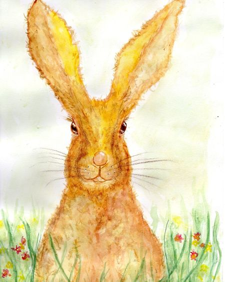 Happyeaster Easter Easter Bunny Hare Osterhase Ostern 2017 Ostern One Animal Art Art, Drawing, Creativity Malerei Drawing ArtWork Aquarell Kunst Artist Watercolor Painting Inmygarden Enjoyinglife  Happy Easter Happy Springtime Spring