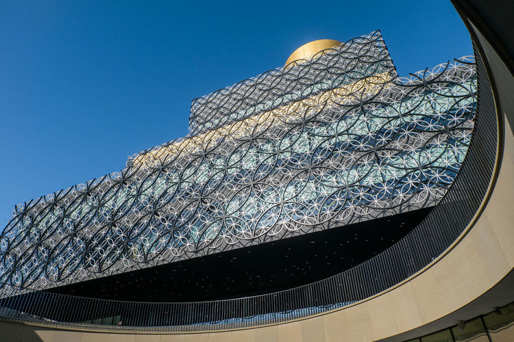 Architectural Feature Architecture Birmingham Library Blue Built Structure Clear Sky Day Design Low Angle View Modern No People Outdoors Sky Sunny Travel Destinations