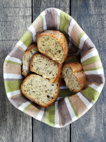 Basket Bread Breakfast Brown Bread Close-up Day Food Food And Drink Freshness Healthy Eating High Angle View Indoors  No People Plate Ready-to-eat SLICE Sliced Bread Table Toasted Toasted Bread Wholegrain Wholemeal Bread  Wood - Material
