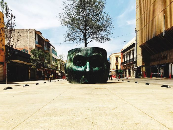 Thinking Face Jalisco Guadalajara Building Exterior Architecture Built Structure Sky City Nature Building Street Day Outdoors Tree Human Representation