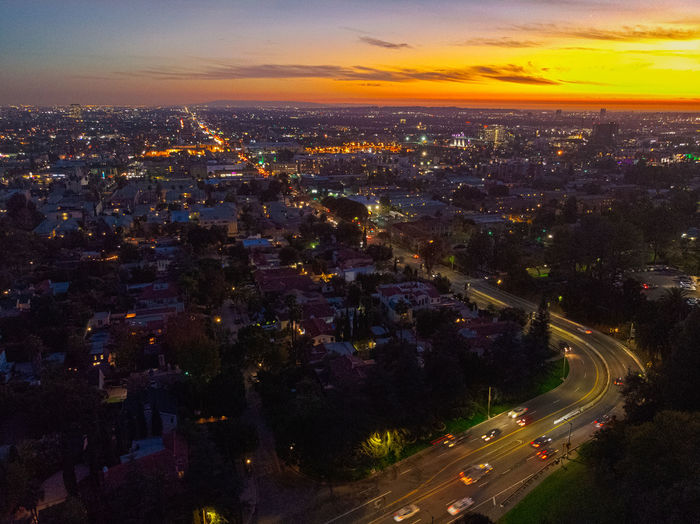 City Architecture Building Exterior Cityscape Built Structure Sky Illuminated Sunset High Angle View Road Nature Cloud - Sky Street Orange Color Transportation Night Building Long Exposure Motion Outdoors Los Angeles, California Hollywood Landscape