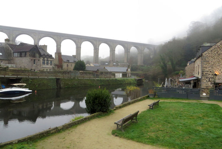 Le viaduc Arch Architecture Bridge - Man Made Structure Brittany Côtes D'Armor Dinan Fog France Landscape Nature No People Outdoors Reflection River Riverside Viaduct Water