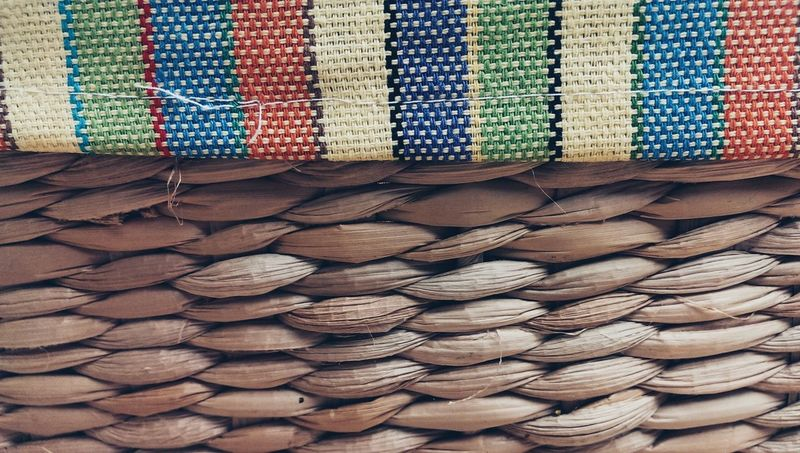 Wicker and fabric Textured  Wickerwork Fabric Detail Abstractions In Colors Common Objects