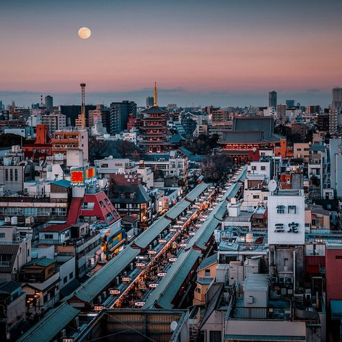 Tokio vibes Japan Tokyo City Architecture Sky Building Exterior Cityscape Built Structure Dusk Sunset Nature Crowded Night Crowd Building Moon High Angle View Urban Skyline Outdoors Residential District Office Building Exterior Skyscraper