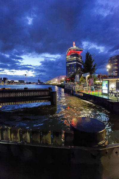 Amsterdam Blues ADAMtower Amsterdam Nederland Netherlands Red Twilight Architecture Blue Building Exterior Built Structure City Cityscape Cloud - Sky Dusk Holland Illuminated Night No People Outdoors Reflection Sky Sunset Tower Water Waterfront