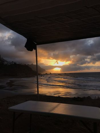 Canarias Camping Sea Water Sea Sky Sunset Cloud - Sky Scenics - Nature Beauty In Nature Outdoors Land No People Tranquility Tranquil Scene Beach Nature Non-urban Scene Horizon Over Water Sunlight Idyllic Horizon