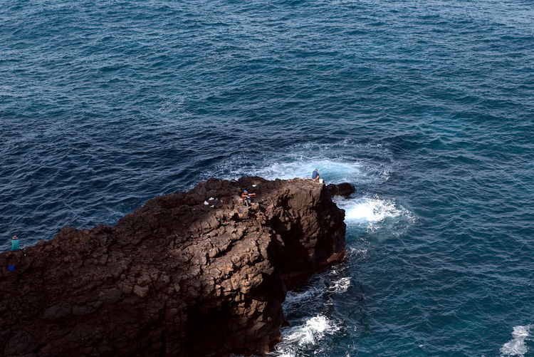 Canary Islands EyeEm Nature Lover Sunlight Beauty In Nature Blue Canon Day Fishermen High Angle View Horizon Over Water Nature Outdoors Rock - Object Scenics Sea Water Wave
