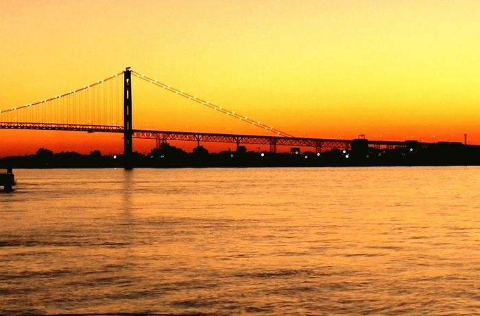 Detroit DetroitRiverWater Across The River Across The Border Canada Windsor Across The Bridge Sunset Bridge Sunset_collection The Architect - 2016 EyeEm Awards Golden Moments 43 Breathtaking Color Of Life