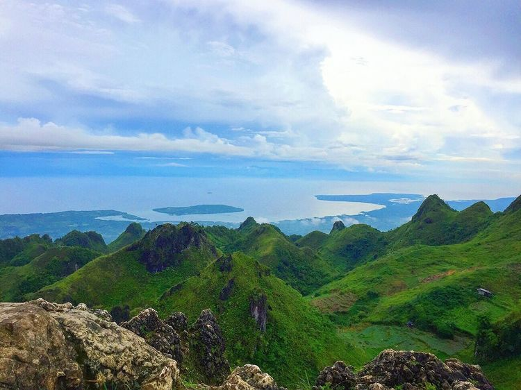 Beauty In Nature Sky Nature Scenics Mountain Cloud - Sky Landscape Day Outdoors Mountain Range Green Color Blue Sky Scenery Travel Destinations Tourism Fog Rock - Object Osmeña Peak Cebu City, Philippines