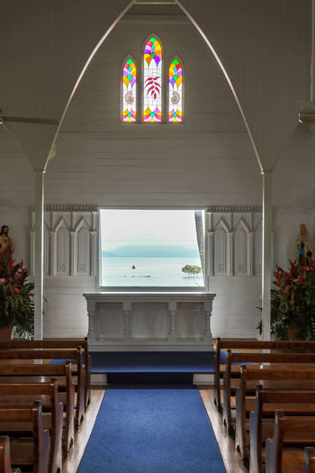 St Mary's by the sea Church Australia Church EyeEm Best Shots Stained Glass The Great Outdoors - 2017 EyeEm Awards The Week On EyeEm Tranquility Travel Wedding Architecture Built Structure Day Douglas Garden Mary's No People Pew Port Saint Sea Sky Tropical