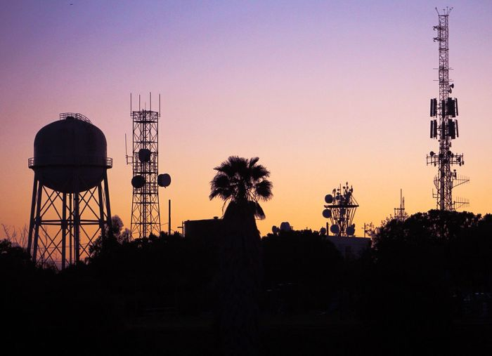 Sunset Silhouette Clear Sky Built Structure No People Water Tower - Storage Tank Outdoors Tree Architecture Sky Day Adapted To The City