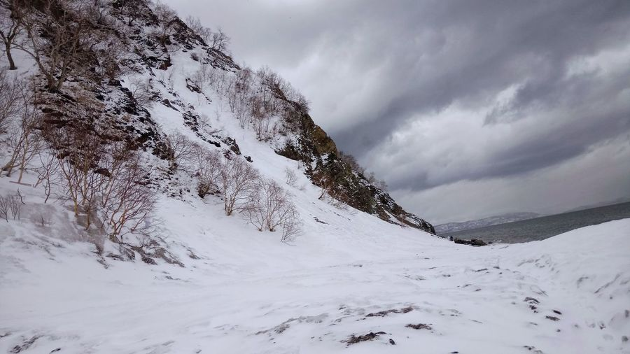 Scenic view of snowy landscape against sky