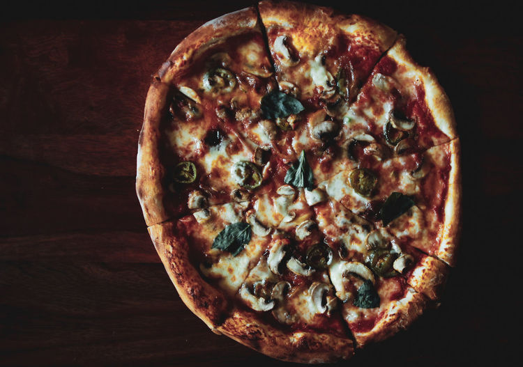 Pizza Copy Space Pizza Food Food Photography Mushrooms Sun Dried Tomatoes Basil Jalapeños Olives Binge Eating From Above  Moody Indoor Hunger Close-up Food And Drink Tomato Sauce Parmesan Cheese Oregano Italian Food Pizzeria Mozzarella EyeEmNewHere