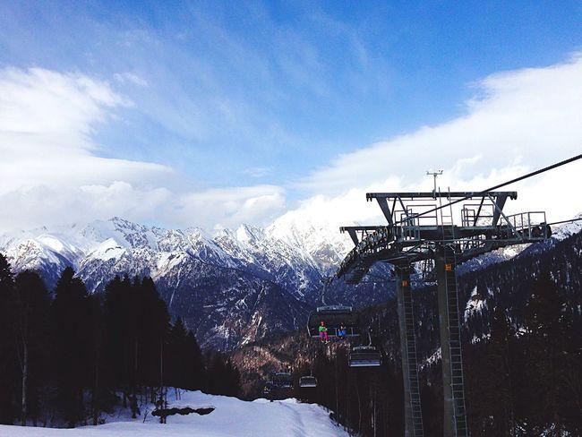 Mountain Winter Snow Cloud - Sky Nature Cold Temperature Ski Lift Roza Hutor Galaktica Rides In Russia
