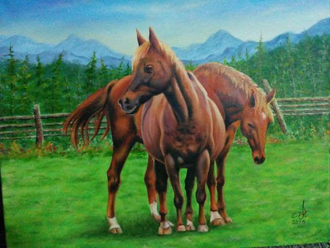 "A lovely friend a super nice lady and a genuine friend who happens to own this gorgeous horses which we happen to share the same love for this animals ,after a long time of grate friendship I asked my lady friend to send me a few images of her horses !so she did ,with her help we both agreed to paint this image ,my dearest Leanne hope you like this and thank you very very much for your friendship,Enjoy. oil on canvas 16""_20"". Domestic Animals Horses Mountain Tranquil Scene Scenics Tranquility Nature Love Of Animals Painting Fine Art Oil Painting Drawing Art, Drawing, Creativity My Art Colllection Friendship. ♡   Love ♥ Koi."