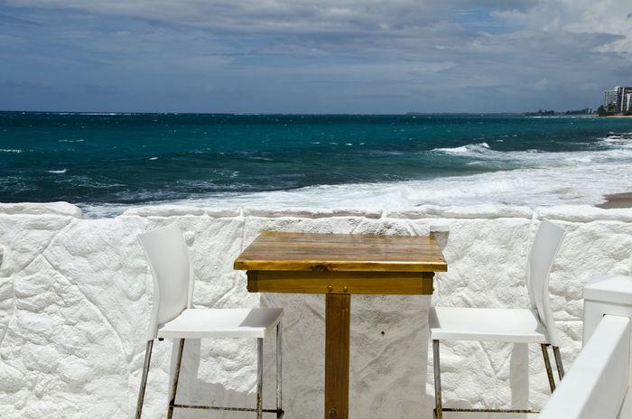 Architecture Beauty In Nature Caribbean Sea Horizon Horizon Over Water Nature Restaurant By The Beach Restaurant By The Sea Scenics Sea Sky Table