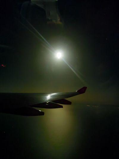 full moon! Full Moon Window Seat Window Seat Privileges Sky Airplane Wing
