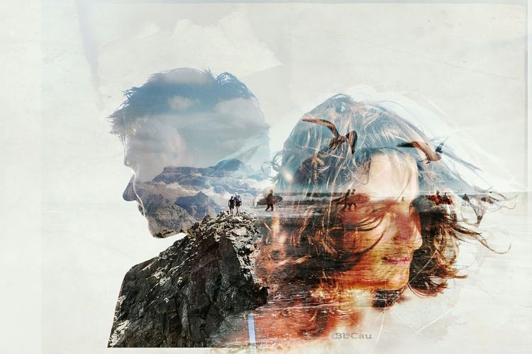 Double Exposure Portrait Graphism Photo Montage Silhouette Mountain Life Is A Beach My Wife And I