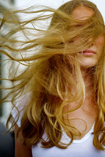 Wind The Portraitist - 2018 EyeEm Awards Beautiful Woman Blond Hair Close-up Females Hair Human Hair Long Hair Portrait Tousled Hair Wind Women Young Women EyeEmNewHere