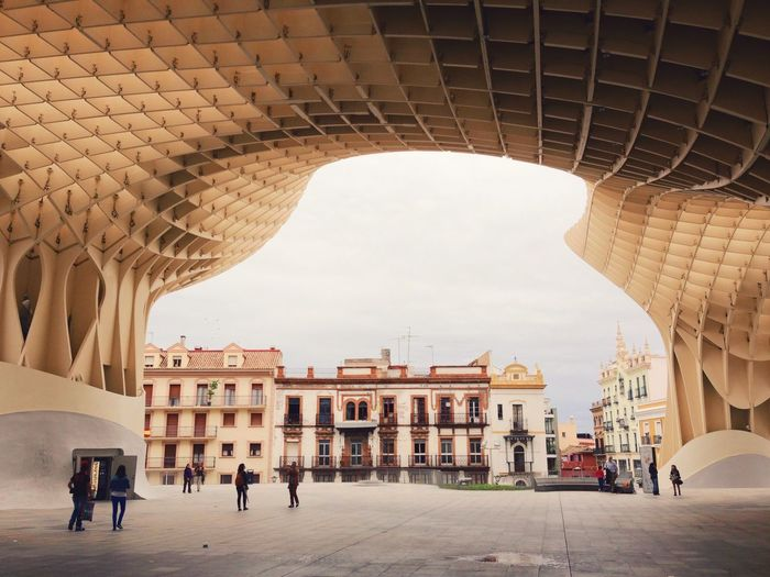 People At Metropol Parasol In City