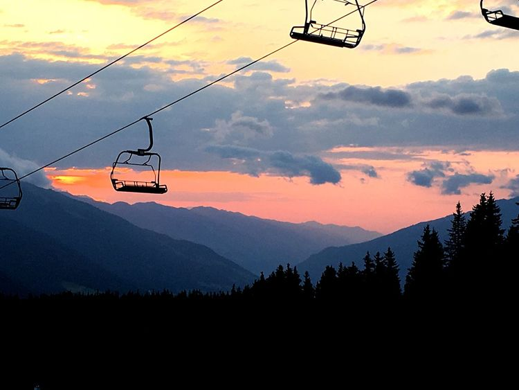 Breathing Space Overhead Cable Car Nature Mountain Sky Sunrise Silhouette Ski Lift Scenics Outdoors Wake Up Early Relaxation Beauty In Nature Life