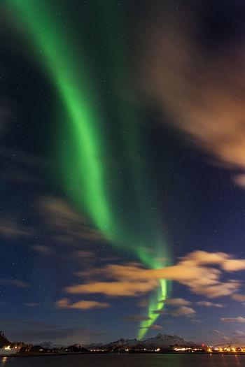 Scenic view of aurora borealis at dusk