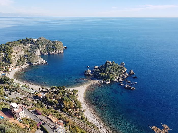 Isola bella Sicily Summer Seascape Sea Isola Bella, Taormina, Mare, Sicilia Water Sea Scenics - Nature Beauty In Nature Horizon Over Water Tranquil Scene Tranquility Beach Horizon Nature High Angle View Land Sky Day Idyllic No People Plant Outdoors Blue