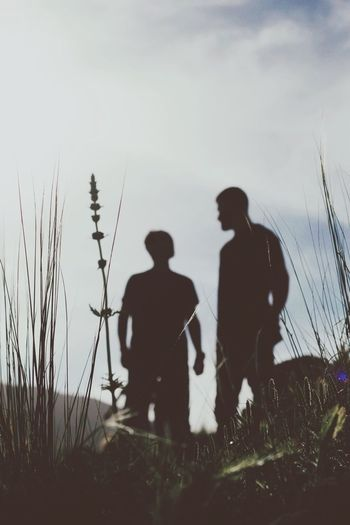 Two of you Men Two People Sky Togetherness Real People Nature Bonding People Friendship Outdoors Silhouette Plant
