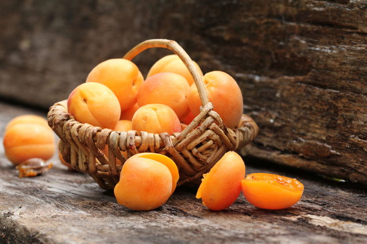Close-up of apricots in basket