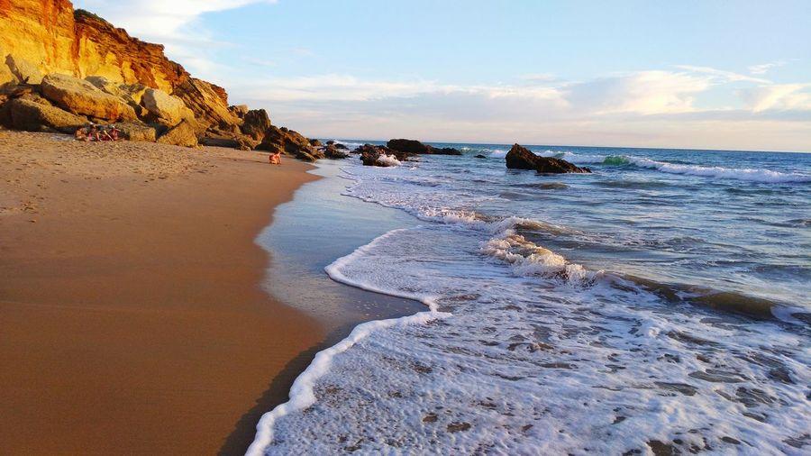 Beach España красота пляж Закат цвета Испания волны океан берег релакс лето отдых путешествия Beutiful  Beautiful Beachphotography песок скалы EyeEm Selects Day Nature Sky Sea Water Wave Beauty In Nature Rock - Object No People