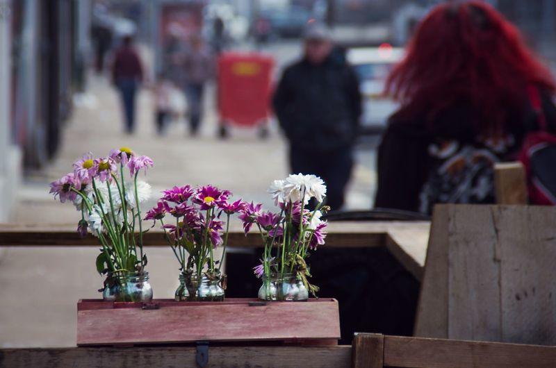 Flower vases in wooden box