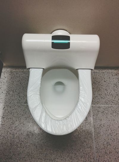 High angle view of open toilet bowl