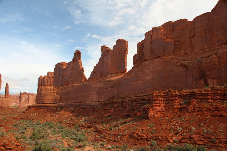Beautiful nature Arches Sky Rock Formation Rock Rock - Object Travel Destinations Nature Solid Cloud - Sky Travel No People Geology Scenics - Nature Beauty In Nature Day Tourism Physical Geography Environment Tranquility Non-urban Scene Low Angle View Outdoors Formation Eroded Sandstone Ancient Civilization