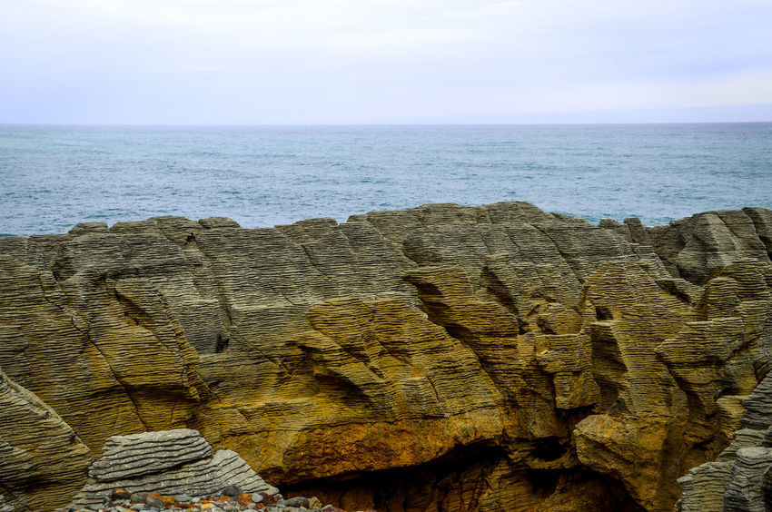 Pancake rocks - Punakaiki NZ New Zealand Beauty EyeEm Nature Lover Nature Outdoors No People Pancake Rocks Pancakes EyeEm Beach Sand Sky Horizon Over Water Close-up Stack Rock Rock Formation Coast Geology