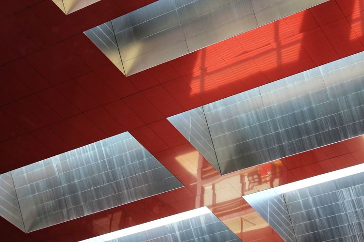 Museum Museo Reina Sofia Red Pattern Close-up Geometric Shape Cityscape Residential District Office Building Urban Scene Hexagon
