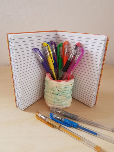 No People Indoors  Studio Shot Desk Organizer Close-up Day Pencils Drawing School Multi Colored Sketch Pad Office Notebook Pens Write Gel Pen Multicolors  Neon Color Draw Notes Kids