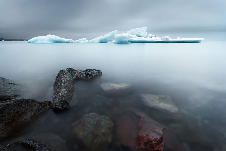 At the jokulsarlon glacier lagoon in iceland