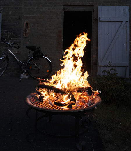 Becycle Fire Night No People Vorpommern Fire Bowl Germany